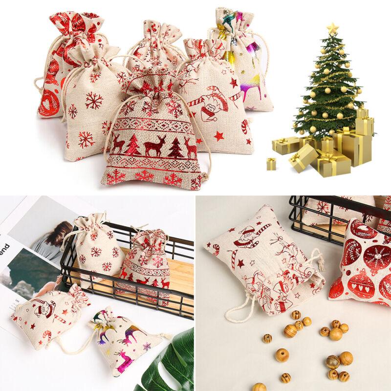 1//5pcs Merry Christmas Elk Jute Gift Bags Drawstring Pouch Candy Organizer UK
