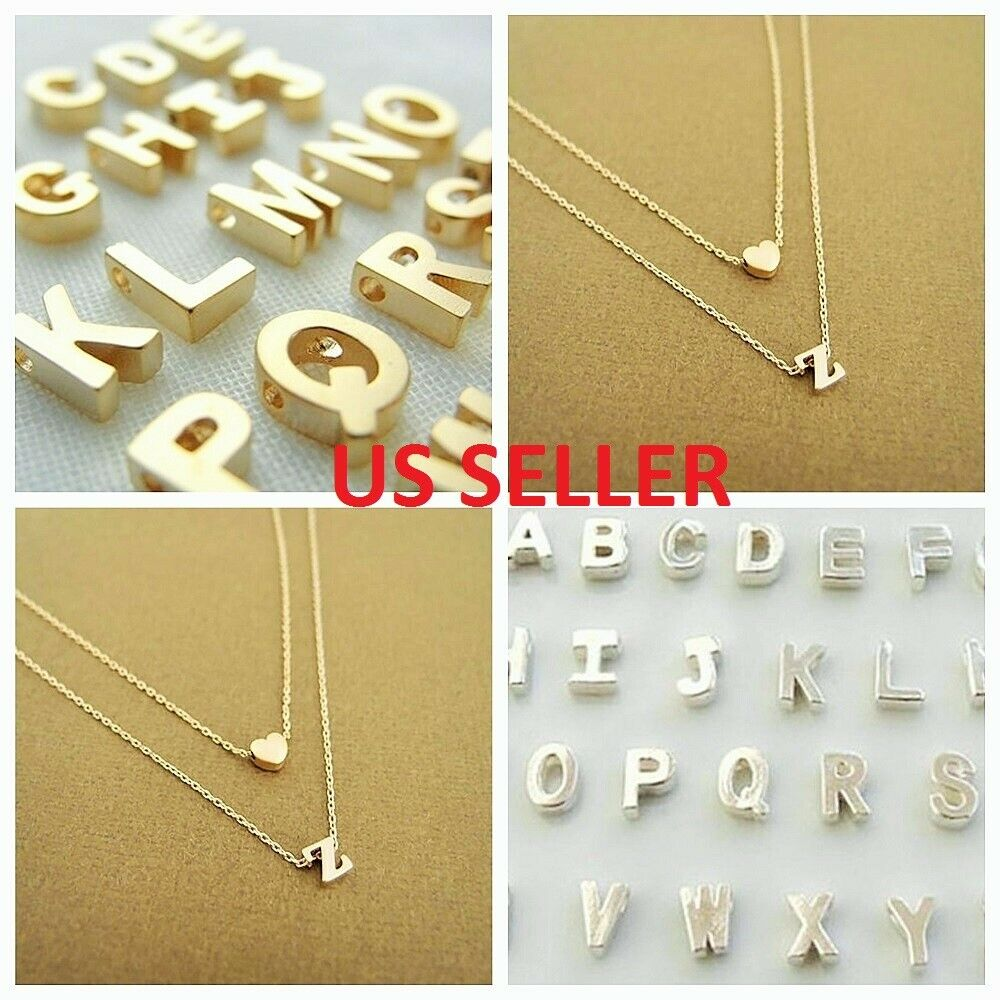 Jewellery - Women Gold/Silver Plated Alphabet Letter w/Heart A-Z Pendant Chain Necklace
