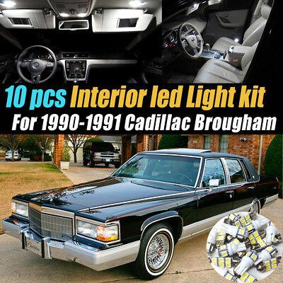 10Pc Super White Car Interior LED Light Bulb Kit for 1990-1991 Cadillac Brougham