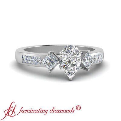 2 Carat Pear Shaped And Princess Diamond Simple Channel Set Engagement Ring GIA
