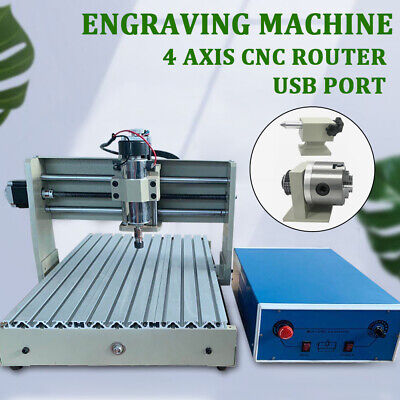 Usb 4 Axis 3040 Cnc Router Engraver Pcb Pvc Wood Engraving Mill Machine 400w Rc