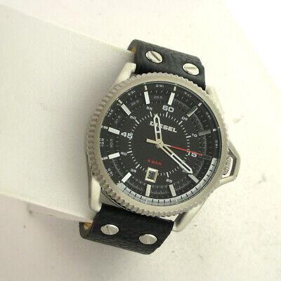 Diesel DZ1790 Rollcage Analog Mens Date Watch Black Leather Stainless Steel WR  Diesel Mens Leather Watch