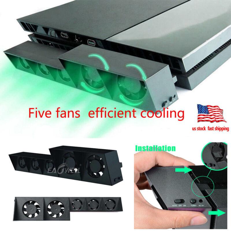 US For PS4 USB 5-Fan Cooling External Turbo Temperature Control Cooler Heatsink