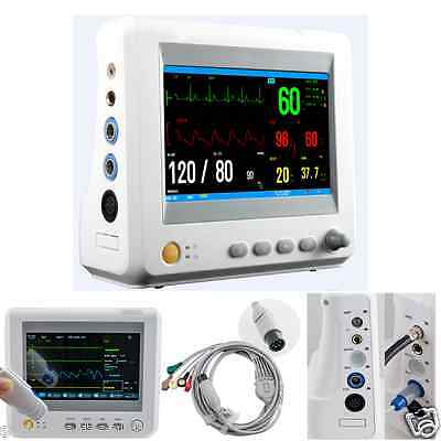 Usa Icu Medical Patient Monitor System 6 Parameters Ecg Nibp Temp Spo2 Pr