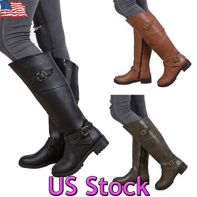 Riding Heel - Womens Boots Knee High Fashion Riding Low Heels Stylish Faux Leather Shoes Size