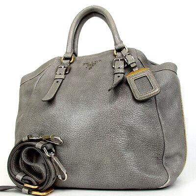 Authentic PRADA 53 2way Shoulder with Logo Hardware Name Tag Handbag leather...