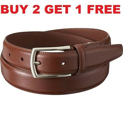 Men's Casual Dress Genuine Leather Belt w/ Buckle Black Brown New Size S M L XL