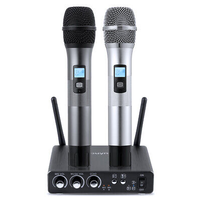 Professional Wireless UHF Microphone System Dual Handheld Mic for Karaoke Speech Uhf Wireless Karaoke Microphone System