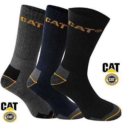 3 6 12 Pairs Pack Men's Work CAT Caterpillar Crew Socks USA Size 10-13 &13-16 3 Pair Sock Pack