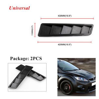 Carbon Fiber Hood Vents - Pair Black Carbon Fiber Car Hood Vents Louver Cooling Panel Left Right  Exterior