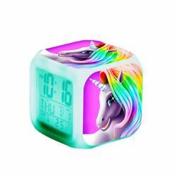 Unicorn Digital Alarm Clocks Girls Children LED Night Glowing Cube LCD Clock