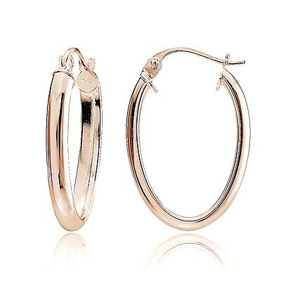 Rose Gold Tone over Sterling Silver 3mm High Polished Oval Hoop Earrings, 20mm