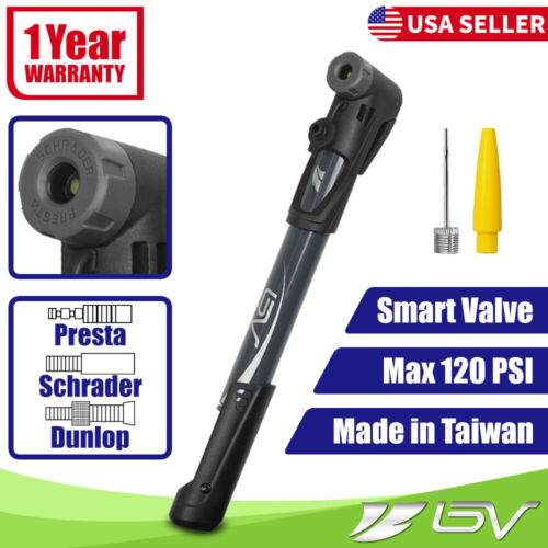 BV Mini Bike Pump Portable Tire Air Inflator Smart Valve Presta Schrader 120PSI