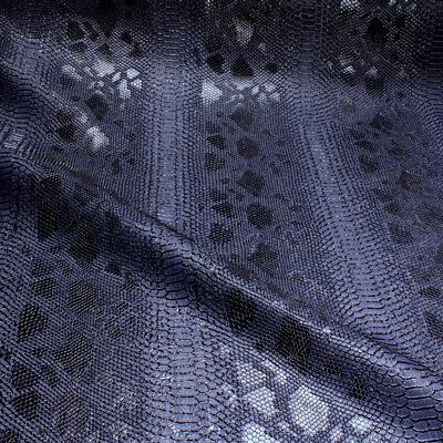 Glänzende Kunstleder (Stoff PVC Kunstleder Krokodil nachtblau leicht glänzend marine dunkelblau)