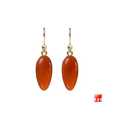 Solid 14k 18k Gold Fire Carnelian Drop Earrings Now with Lever Back Option ()