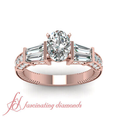1.50 Ct Oval Shaped Diamond With Tapered Baguette Accented Engagement Ring GIA 1