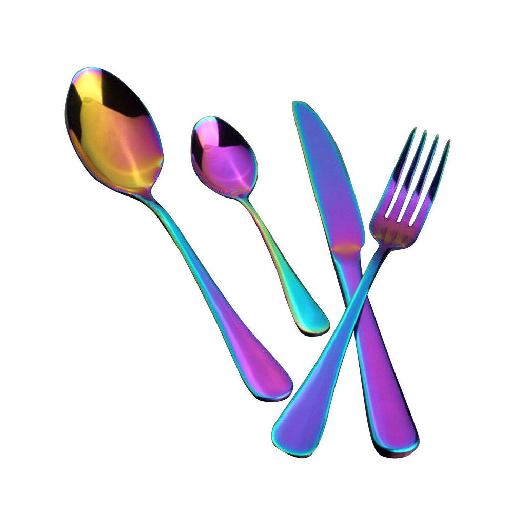 Stainless Steel Cutlery Set Rainbow Colourful Iridescent Spoon Fork 4p SFL
