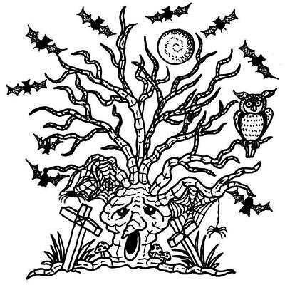 HALLOWEEN Haunted Tree Cling Unmounted Rubber Stamp Class Act Inc HA203L - Class Halloween Crafts