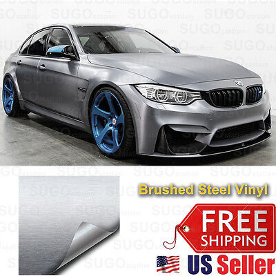 "96""x60"" Premium Silver Brushed Aluminum Metal Steel Vinyl Wrap Sticker FilmDecal"