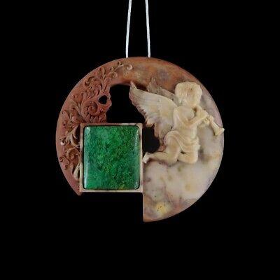 Carved Cherub Stone Bead GJ905013