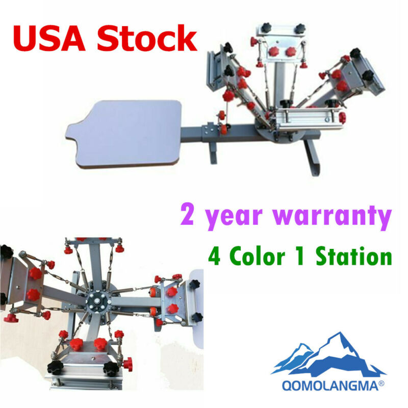 Manual 4 Color 1 Station Micro Registration tshirt Screen Printing Press Machine