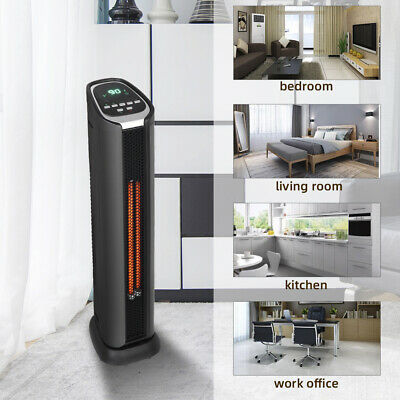 Best HT1053 Space Heater Electric Tower Infrared 2 Quartz Remote Heater