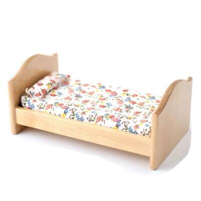 Dolls House Small Light Oak Single Bed Child's Nursery Bedroom Furniture