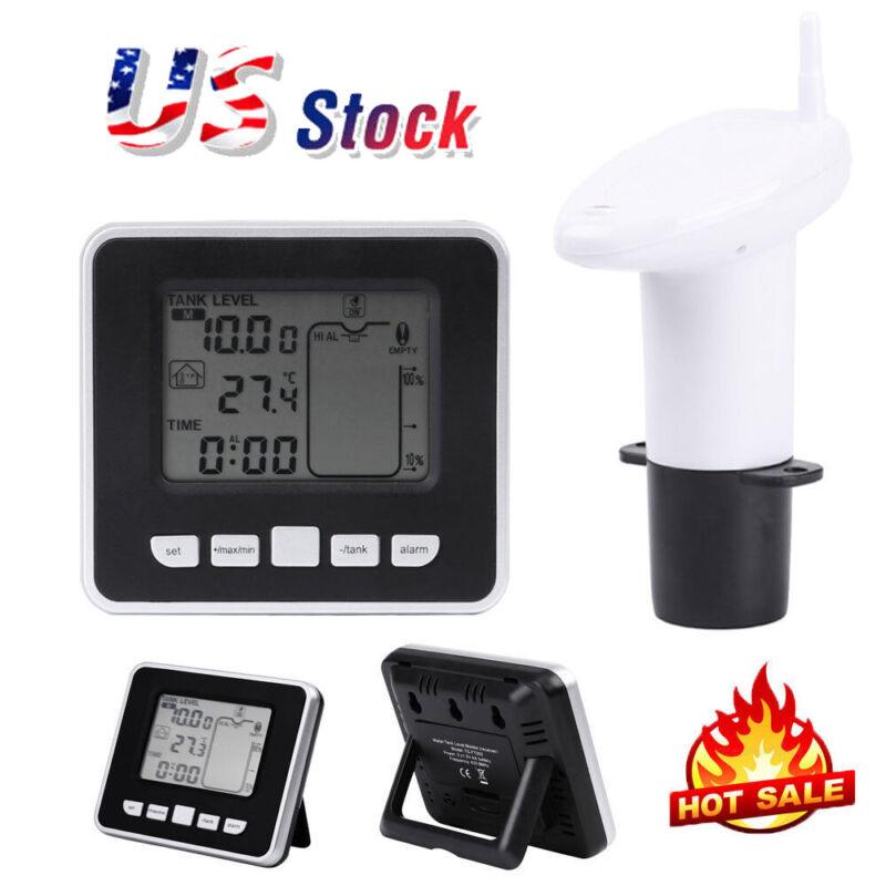 Ultrasonic Water Tank Liquid Depth Level Meter Sensor w/Temperature Transmitter