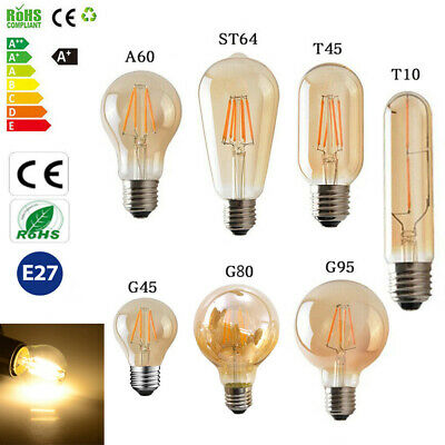 E14 E27 LED Filament Bulb Vintage Amber Glass Retro Light Screw Edison Globe