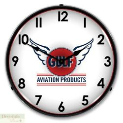 Gulf Aviation Products Wing Logo Retro Style WALL CLOCK 14 LED Lighted Back New
