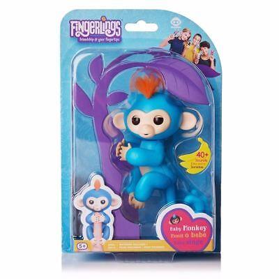Fingerlings   Interactive Baby Monkey  Boris  Blue With Orange Hair  By Wowwee