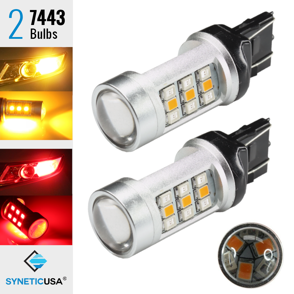 2x 7443 Type-1 Dual Color Switchback Red//Amber 33-LED Turn Signal Light Bulbs