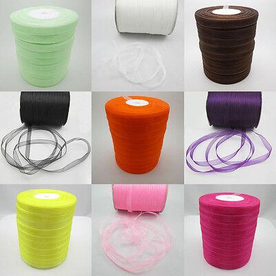 50Yards Satin Edge Sheer Organza Ribbon Bow Craft Supplies many color 3/8