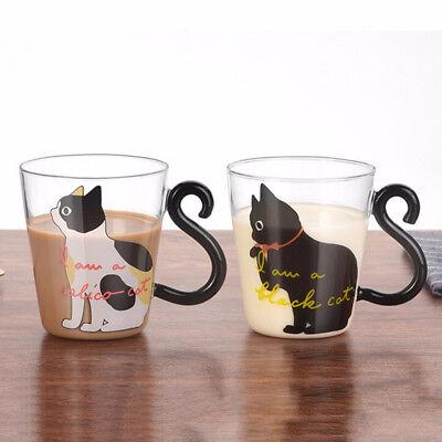 Cute Creative Cat Kitty Glass Mug Cup Tea Cup Milk Coffee Cup Words Home Office