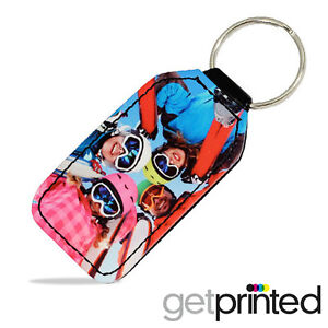 Personalised Keyring PU Leather Custom Photo Create Your Own Design Gift Present