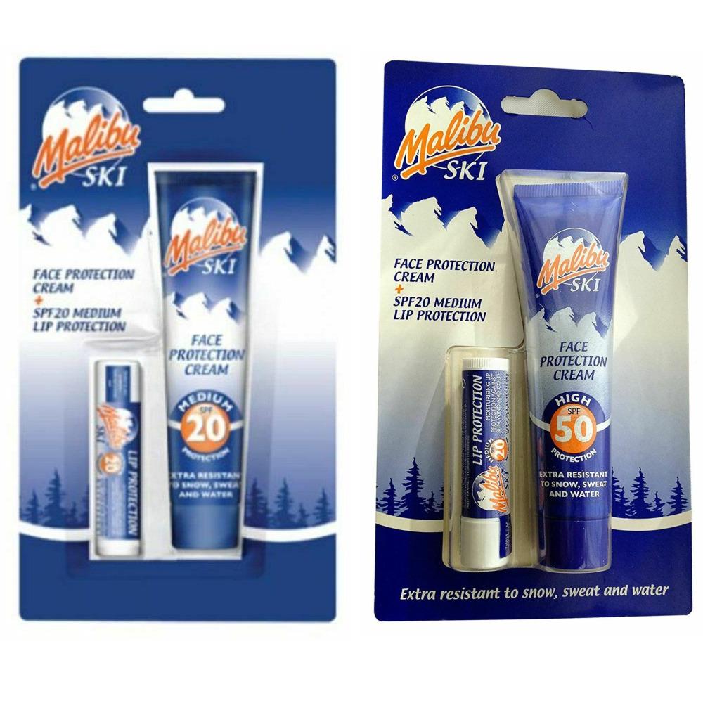 Malibu Ski Face Protection Cream & Lip Protection - CHOOSE SPF