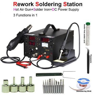 3in1 853d Rework Soldering Station Hot Air Gun Solder Iron Dc Power Supply