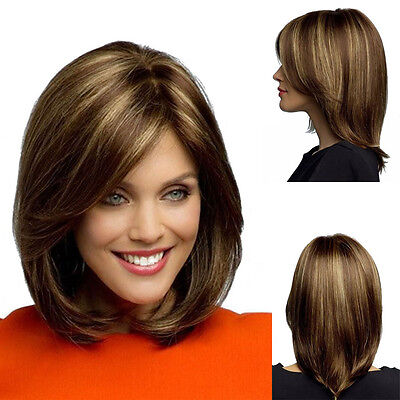 New Fashion Women's Short Brown Blonde Natural Straight Cosplay Hair Full Wigs (Wigs Blonde Short)