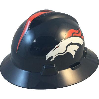 """MSA V-Gard FULL BRIM DENVER """"BRONCOS"""" NFL Hard Hat Type 3 RATCHET Suspension"""