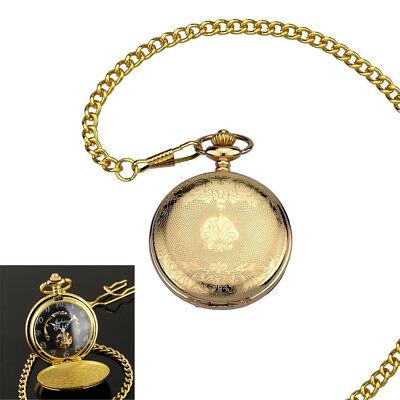 Mens Mechanical Watch Pocket Skeleton Black Gold Chain Retro Vintage Wind-Up HOT Black Gold Pocket Watch