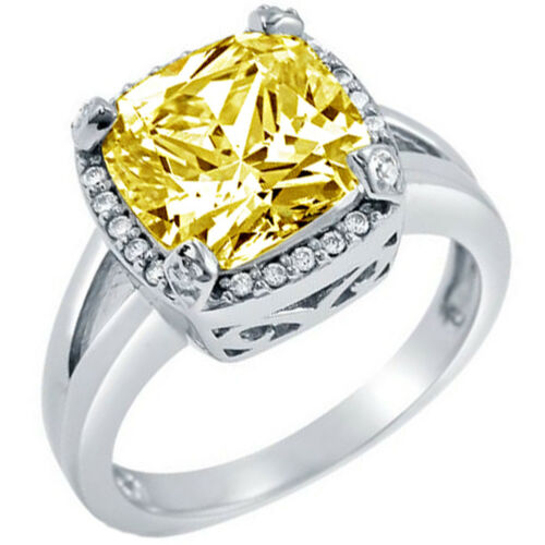 GIA Certified Fancy Yellow Cushion Diamond Engagement Halo Ring 3.75 Carat