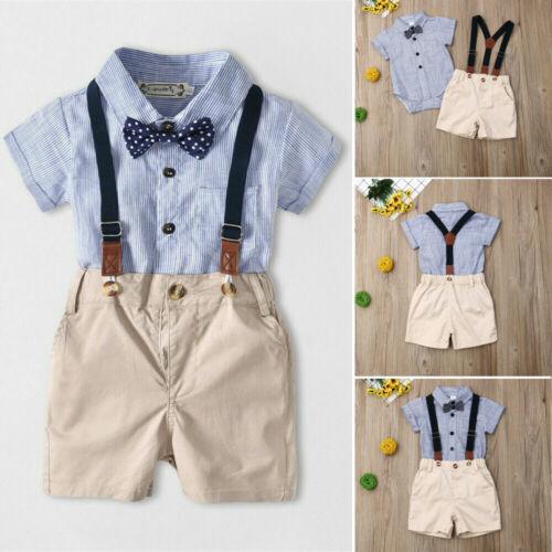 Newborn Kids Baby Boy Gentleman 2PCS Outfits Sets Romper + B
