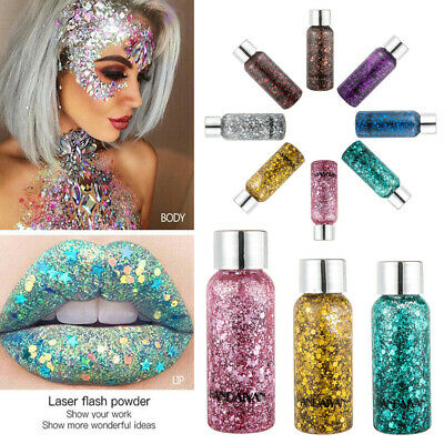 Face Body Glitter Paste Cream Highlighter Gel Hair Paint Cosmetic Makeup Tools - Hair Glitter