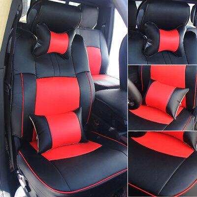 US Seat Covers For 2009-2018 Dodge Ram 1500 2500 3500 Black&Red Armrest Pad Set