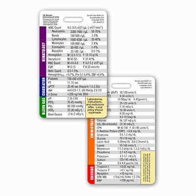 Lab Value Vertical Badge ID Card Reference Pocket Guide RN Nurse Paramedic EMS