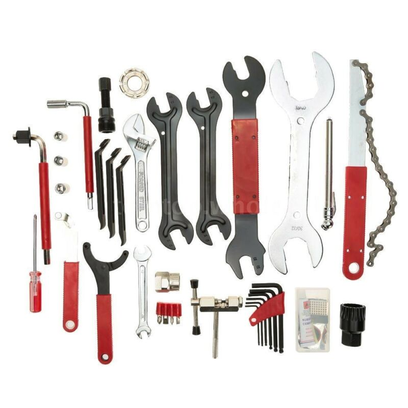 46Pcs Universal Complete Bike Bicycle Repair Tool Kit Set Box Case Valve Wrench