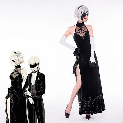On Sale Anime NieR:Automata 2B Black formal dress Cosplay Costume Free Shipping  - Costume On Sale