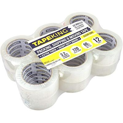 Super Thick 3.2mil Clear Packing Tape (12 Refill Rolls) Heavy Duty Adhesive 60