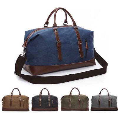 Vintage Men Canvas Travel Duffle Bag Gym Weekend Handbag Shoulder Bag Luggage