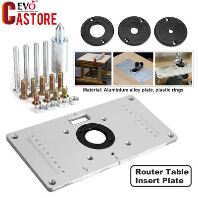 New Aluminum Router Table Insert Plate 235*120*8mm With Ring For Woodworking HG